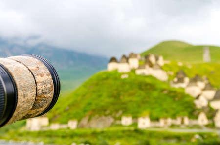 Lens of camera faces Ancient Alanian necropolis