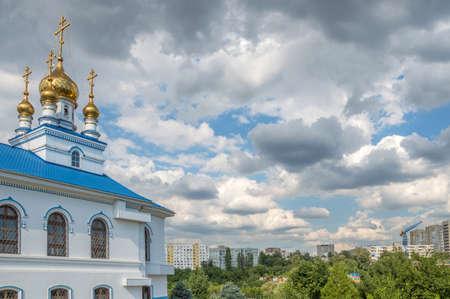 ural: Beautiful Orthodox church against blue sky