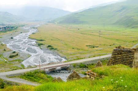 Scenic view of mountain river bridge landscape
