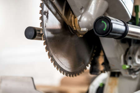 Close up modern circular wood saw