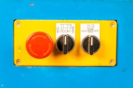 Close up old control board in carpenters Stok Fotoğraf