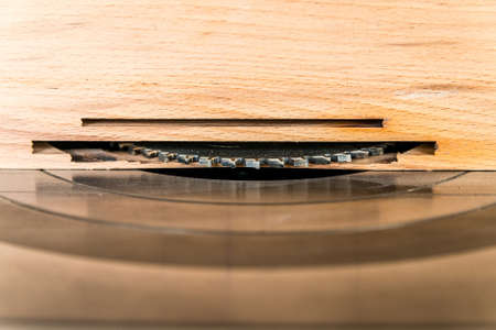 Close up circular saw in carpenters worshop