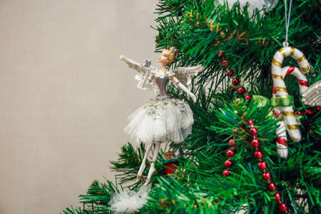 Close up Christmas toy of ballet dancer on tree