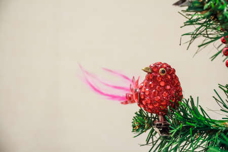 Close up Christmas toy of red bird on tree