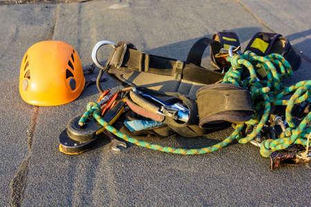 Close up industrial climbing equipment