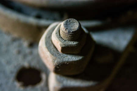 Close up metal nut on bolt