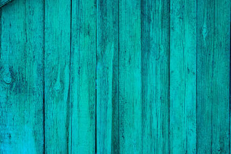 Texture of cian wooden planks with some spaces between them Stock Photo