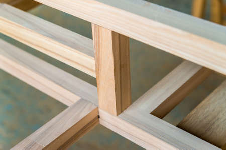 New wooden beams joined with each other