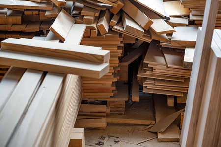 Many wooden beams stored at carpenters