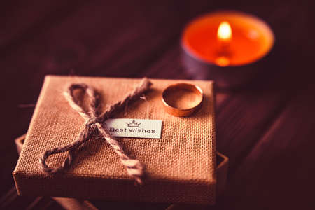 Valentines day background with candle, box, ring