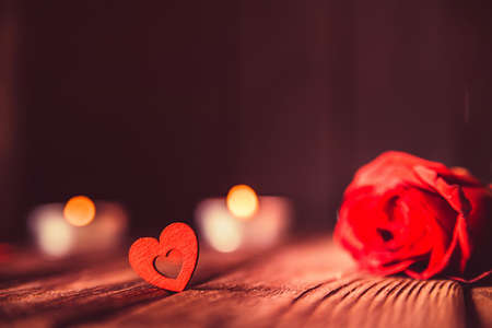 Valentines day background with rose, candles