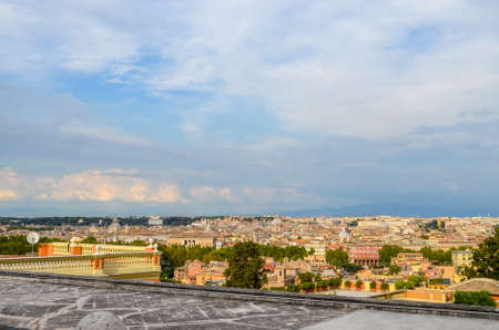 Beautiful view of rooftops of Rome in Italy