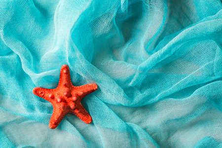Dried red sea starfish on cian cloth background