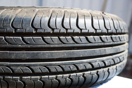 Close up used car tire texture Stock Photo