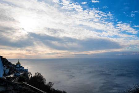 Beautiful view of small church on Cape Fiolent in Sevastopol, Crimea