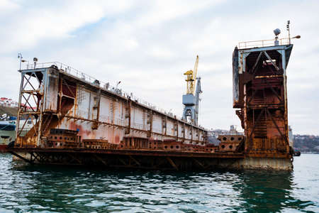 Wiew of floating dock for repairing ships in Black Sea
