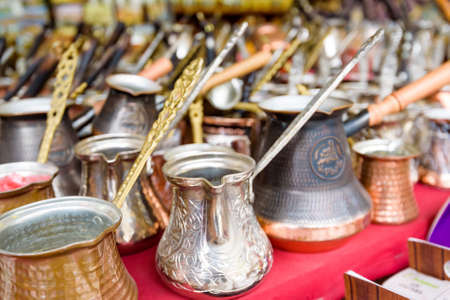 Copper coffee pots or cezve in street market