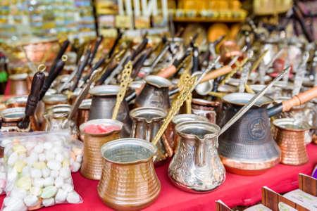 Copper coffee pots or cezve in street market