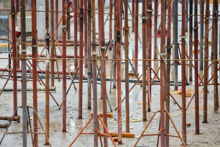 View of reinforcement carcass made of fitness at construction site