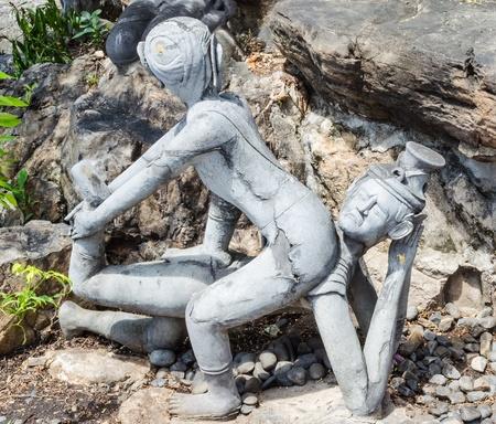 thai massage: Thai Massage Statue in Wat Pho,Bangkok,               Thailand