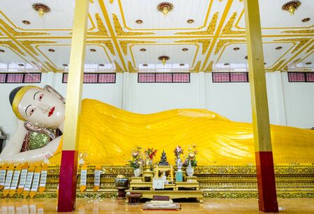 decorration: Reclining White Buddha Statue In Wat Phra non,Mae Hong Son Province,  Thailand Editorial