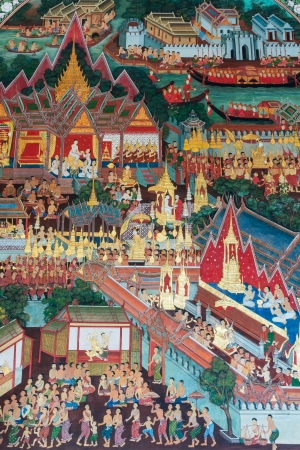 generality: TRADITIONAL THAI style painting art in Wat Amphawan Chetiyaram,Generality in Thailand,Any kind of art decorated in Buddhist church Etc. Created with money donated by people,No restrict in copy or use.