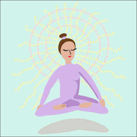 meditates: A girl meditates in lotus position