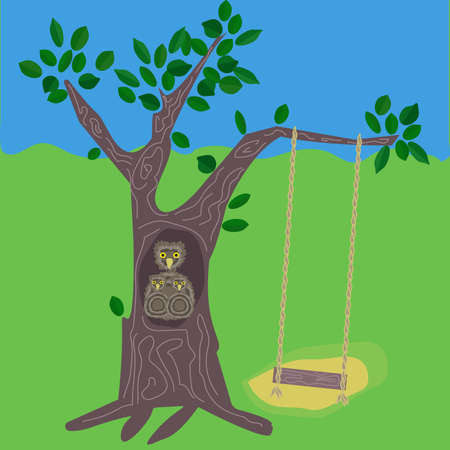 owl family: A tree with swing and owl family of a parent and two chicken
