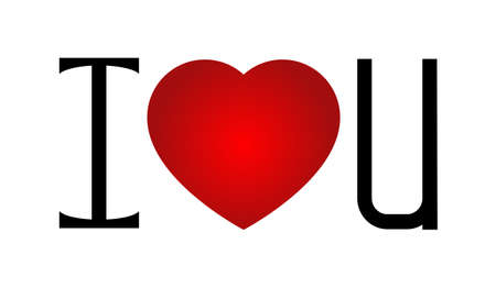 i love u: I love u with a red heart in the center Illustration