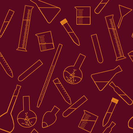 maroon: Seamless pattern in orange and maroon colors with glassware for chemical and biological experiments Illustration