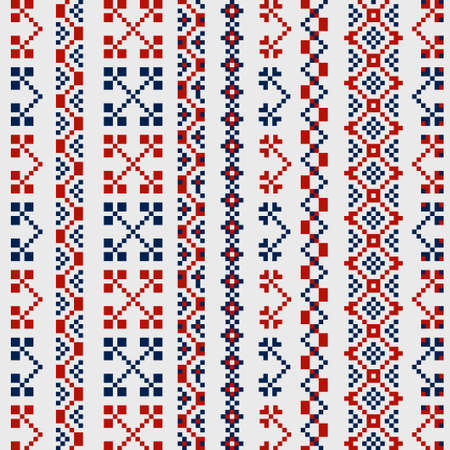 linen: Traditional russian ornaments for embroidery on clothes in red and blue colors Illustration