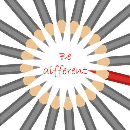 be different: A group of standard grey pencils and one red forming a circle with motto - be different- in the center