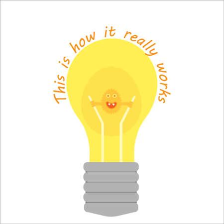 noble gas: A funny imaginary creature shining inside a lightbulb
