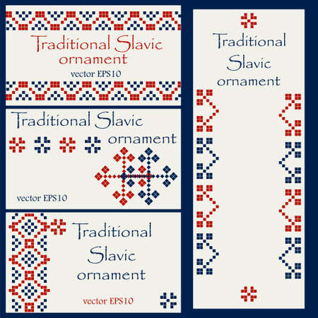 handicrafts: Business card templates with traditional slavic ornament - for handicrafts, embroidery, handiwork presentation