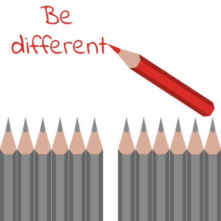 be different: Row of ordinary grey pencils and one red with text motto -  be different