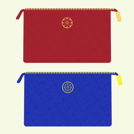 stitched: Cosmetic bag from stitched fabric with golden zipper and emblem in red and blue colors Illustration