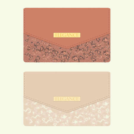 vanity bag: Cosmetic bag  in beige and brown colors with golden decoration Illustration