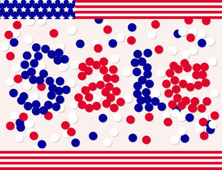 national colors: Presidents day sale banner by confetti in national colors