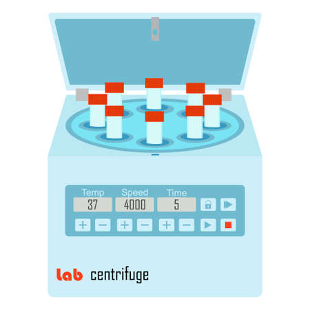 centrifuge: Lab centrifuge with vacutainers - laboratory equipment for chemical and biological experiments Illustration