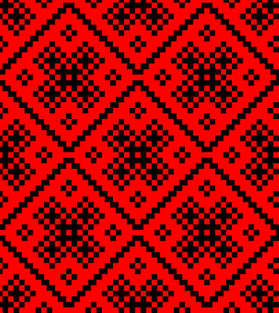 belorussian: Traditional salvic ornament by squares in red and black colors - seamlesss pattern