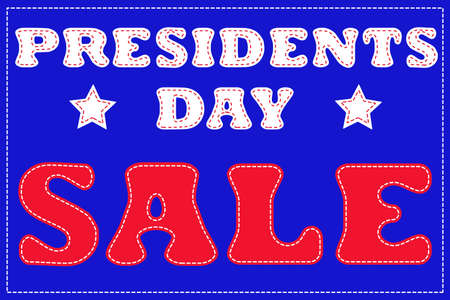 national colors: Presidents day sale banner with sewn letters in national colors