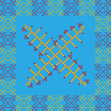 shamanic: Shamanic ornament in red, yellow and blue colors by squares