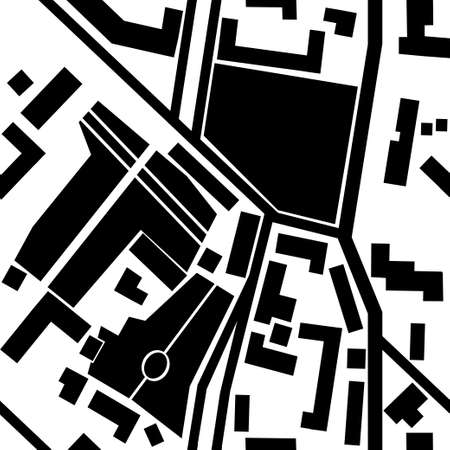 boulevard: City map with  parks, crossroads, house silhouetes in black and white - seamless pattern