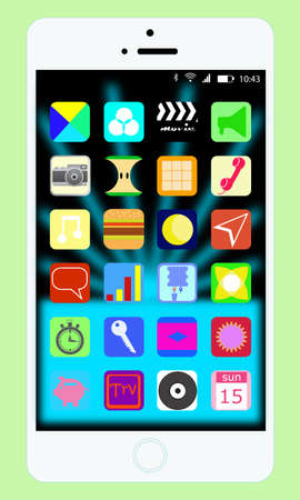 fictional: White mobile phone with touchscreen and 24 fictional app icons on it