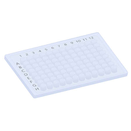 Plastic  plate with 96 wells is widely used for molecular biology research - lab equipment Illustration