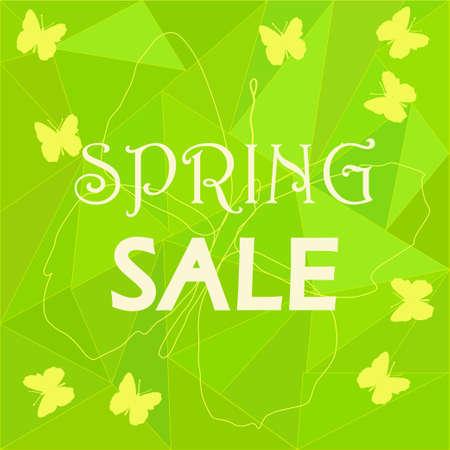 mariposas amarillas: plantilla de la venta de publicidad de primavera sobre fondo verde de baja poli con mariposas amarillas - para folletos, volantes de promoción, el etiquetado de descuento