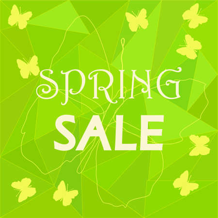 yellow butterflies: Spring sale ad template on green low poly background with yellow butterflies - for brochures, promotion fliers, discount labeling