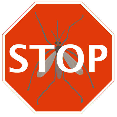 infectious: Stop sign with mosquito - symbol of infectious diseasetransmission- can be used as an illustration of prevention
