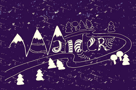 t shirt blue: handdrawn wander with doodle elements - mountain and trees
