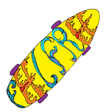 subculture: Yellow skateboard with ornate words - feel free. Hand drawn symbol of urban lifestyle, youth culture, teenage subculture
